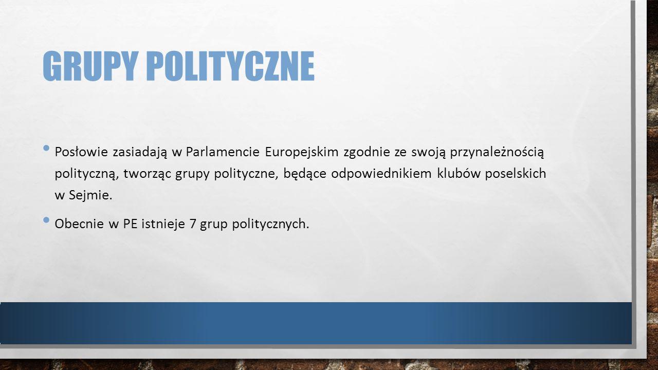 GRUPY POLITYCZNE Posłowie zasiadają w Parlamencie Europejskim zgodnie ze swoją przynależnością polityczną, tworząc grupy polityczne, będące odpowiedni