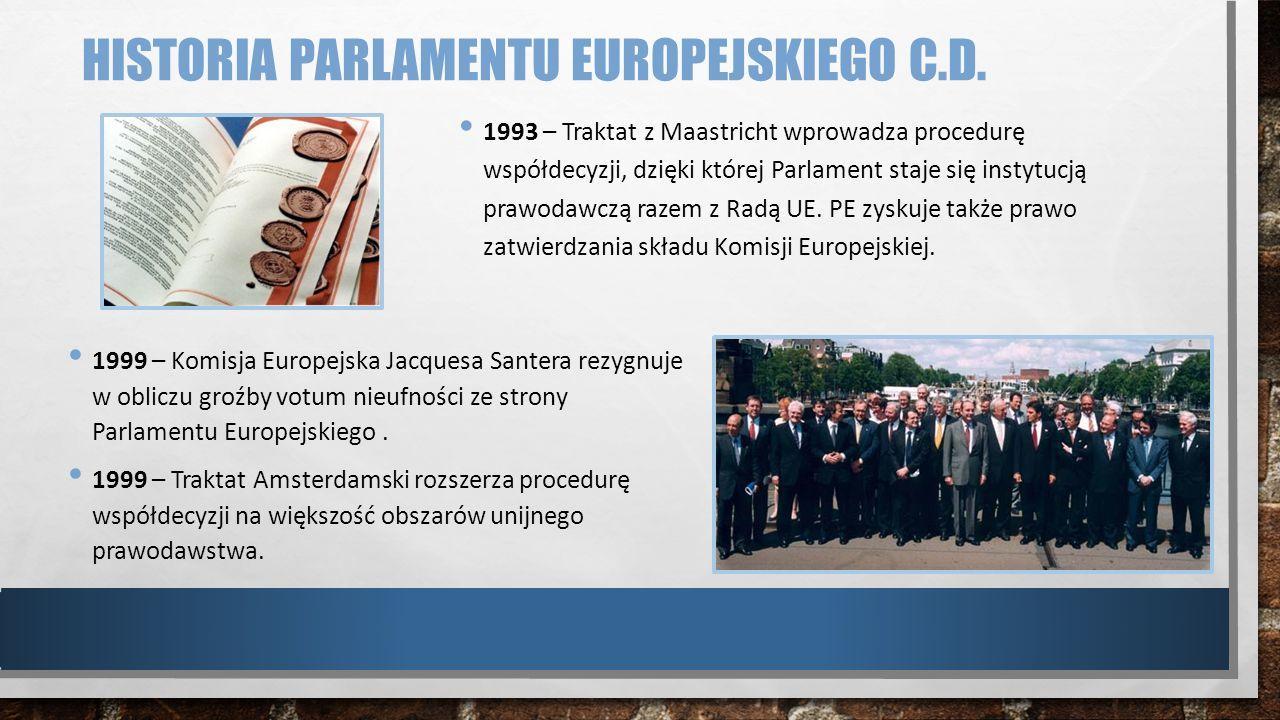 HISTORIA PARLAMENTU EUROPEJSKIEGO C.D. 1993 – Traktat z Maastricht wprowadza procedurę współdecyzji, dzięki której Parlament staje się instytucją praw