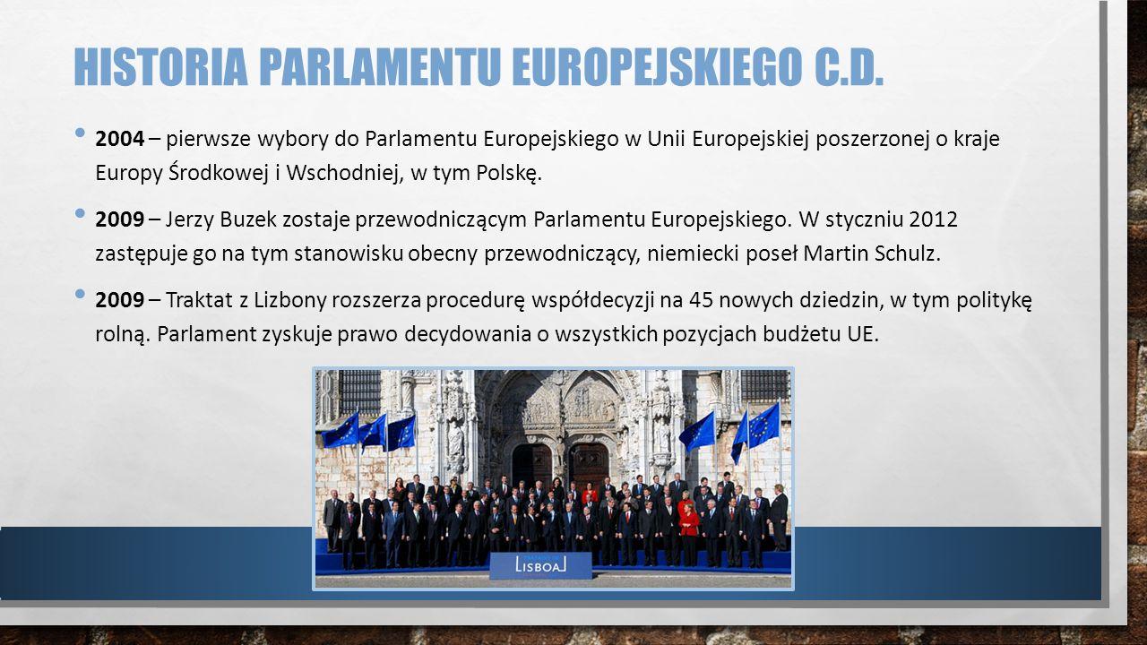 HISTORIA PARLAMENTU EUROPEJSKIEGO C.D. 2004 – pierwsze wybory do Parlamentu Europejskiego w Unii Europejskiej poszerzonej o kraje Europy Środkowej i W