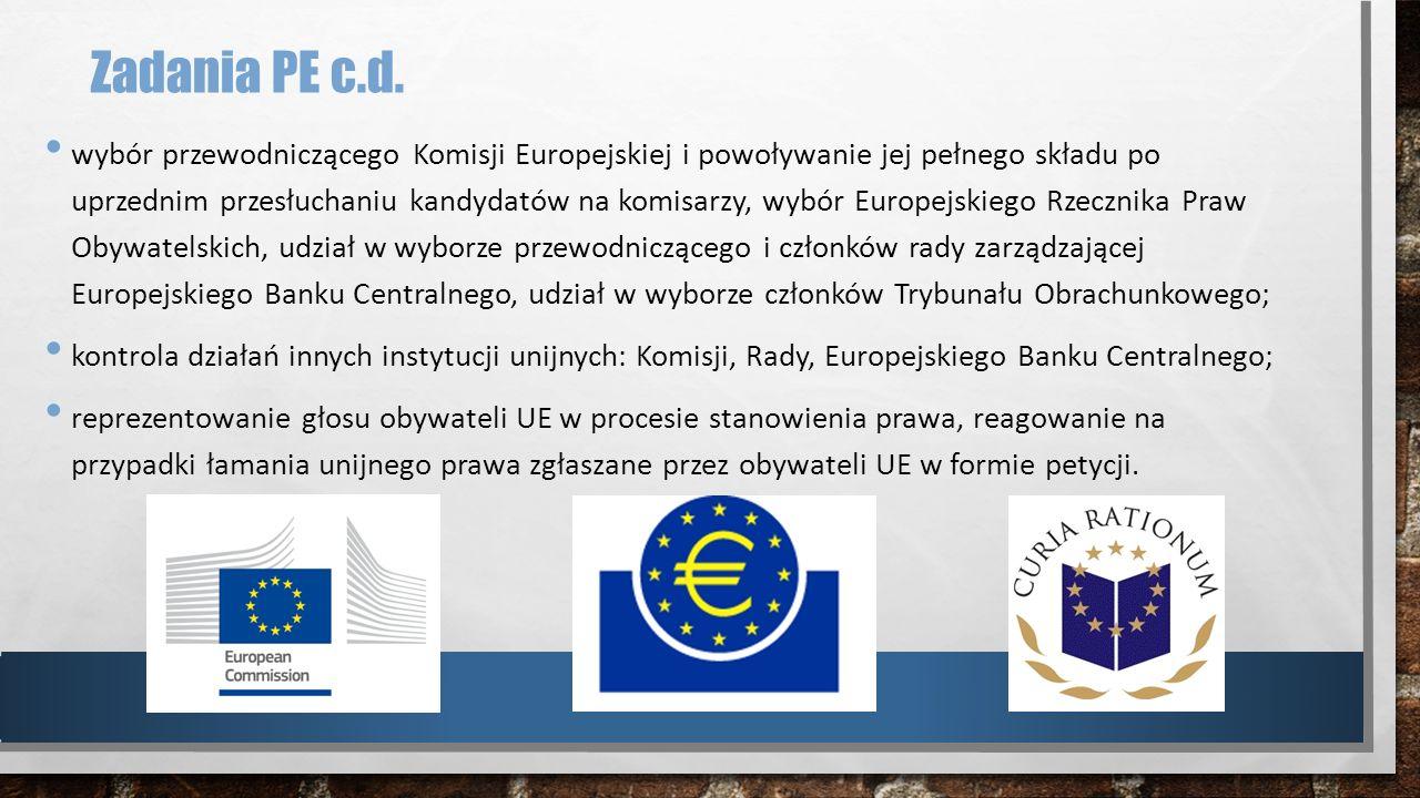 Zadania PE c.d. wybór przewodniczącego Komisji Europejskiej i powoływanie jej pełnego składu po uprzednim przesłuchaniu kandydatów na komisarzy, wybór