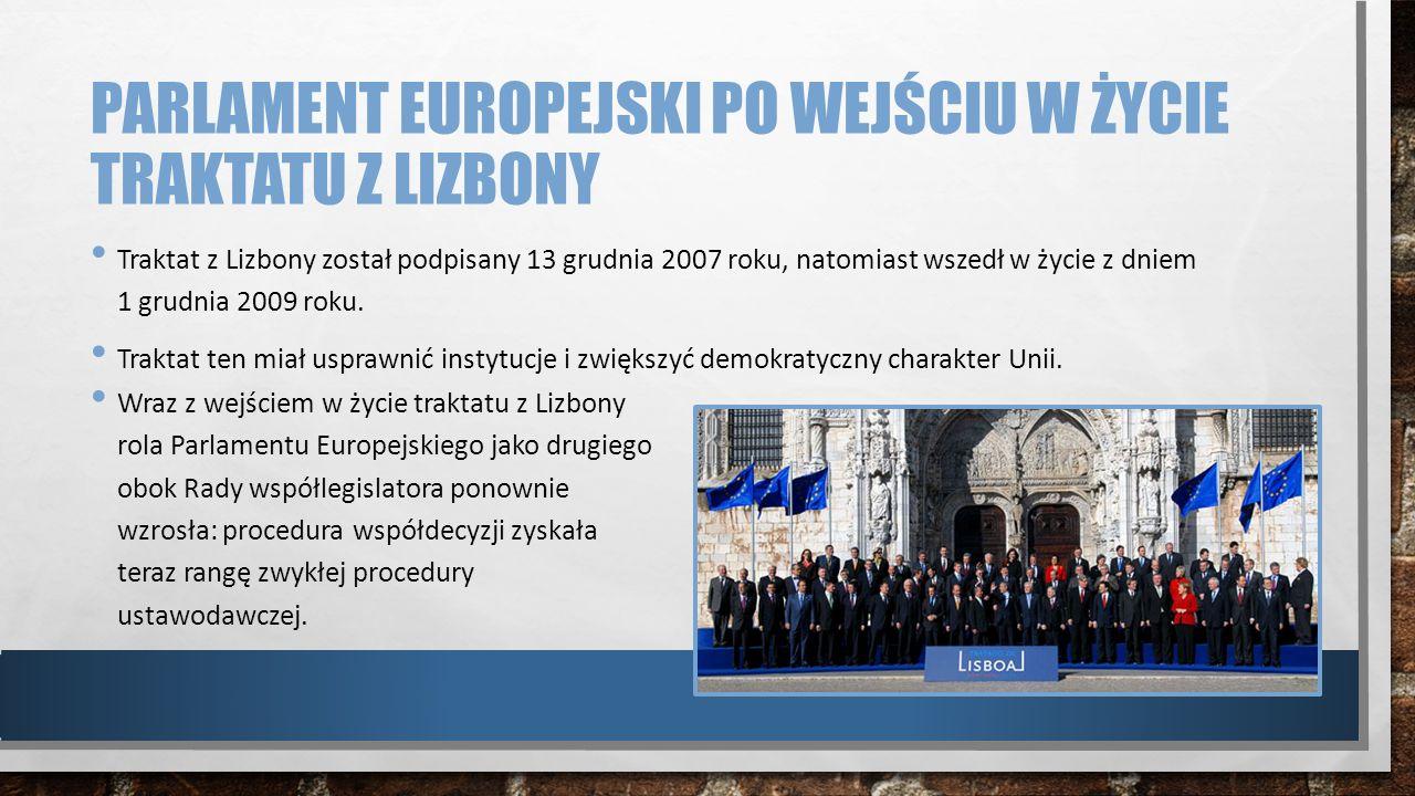 PARLAMENT EUROPEJSKI PO WEJŚCIU W ŻYCIE TRAKTATU Z LIZBONY Traktat z Lizbony został podpisany 13 grudnia 2007 roku, natomiast wszedł w życie z dniem 1