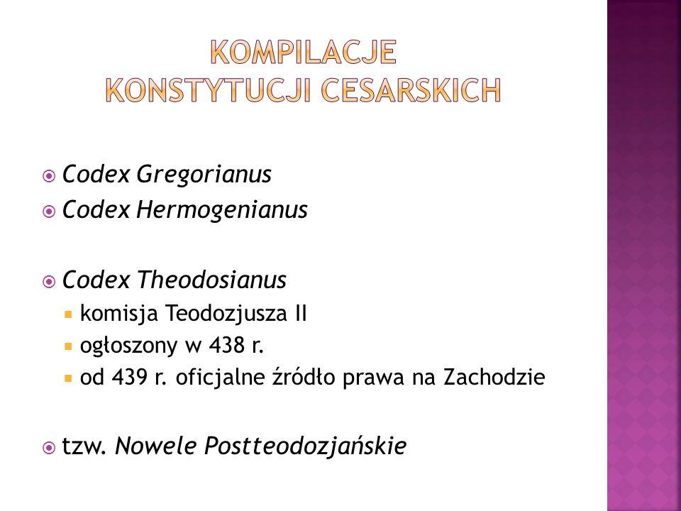  Codex Gregorianus  Codex Hermogenianus  Codex Theodosianus  komisja Teodozjusza II  ogłoszony w 438 r.