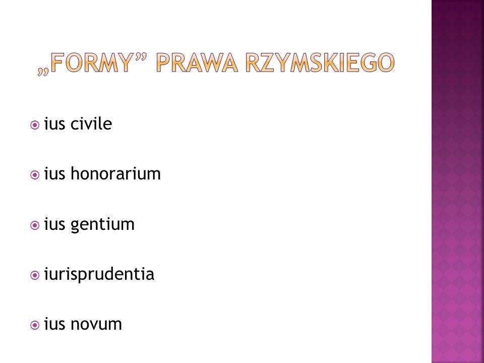  prawo obywateli miasta–państwa (ius Quiritum)  prawo zwyczajowe oparte o zwyczaje i tradycję przodków (mores maiorum)  spisane w Ustawie XII Tablic (Lex duodecim tabularum) ok.