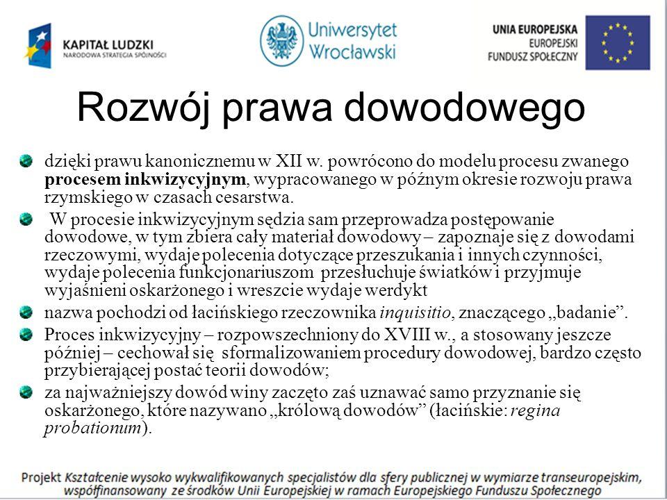 Rozwój prawa dowodowego dzięki prawu kanonicznemu w XII w.
