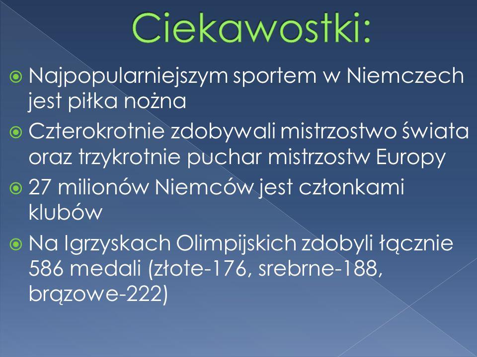  Najpopularniejszym sportem w Niemczech jest piłka nożna  Czterokrotnie zdobywali mistrzostwo świata oraz trzykrotnie puchar mistrzostw Europy  27 milionów Niemców jest członkami klubów  Na Igrzyskach Olimpijskich zdobyli łącznie 586 medali (złote-176, srebrne-188, brązowe-222)