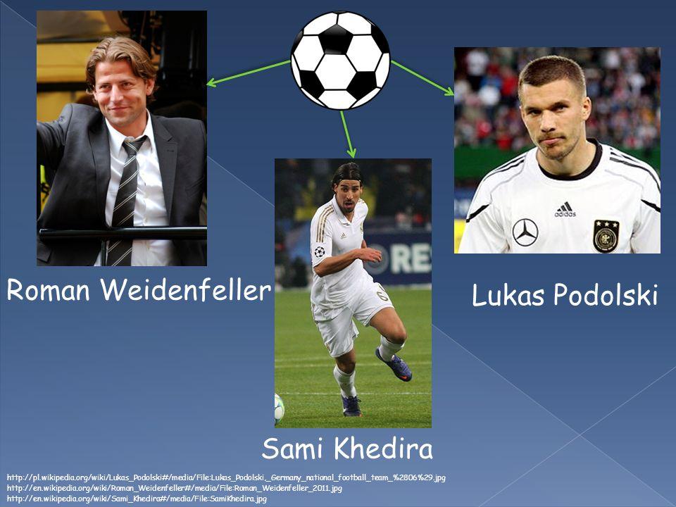 Roman Weidenfeller Sami Khedira http://en.wikipedia.org/wiki/Sami_Khedira#/media/File:SamiKhedira.jpg http://en.wikipedia.org/wiki/Roman_Weidenfeller#/media/File:Roman_Weidenfeller_2011.jpg Lukas Podolski http://pl.wikipedia.org/wiki/Lukas_Podolski#/media/File:Lukas_Podolski,_Germany_national_football_team_%2806%29.jpg
