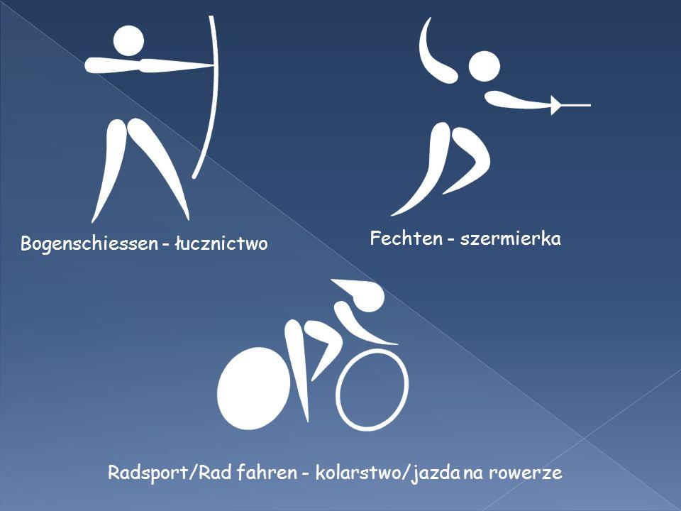 Bogenschiessen - łucznictwo Fechten - szermierka Radsport/Rad fahren - kolarstwo/jazda na rowerze
