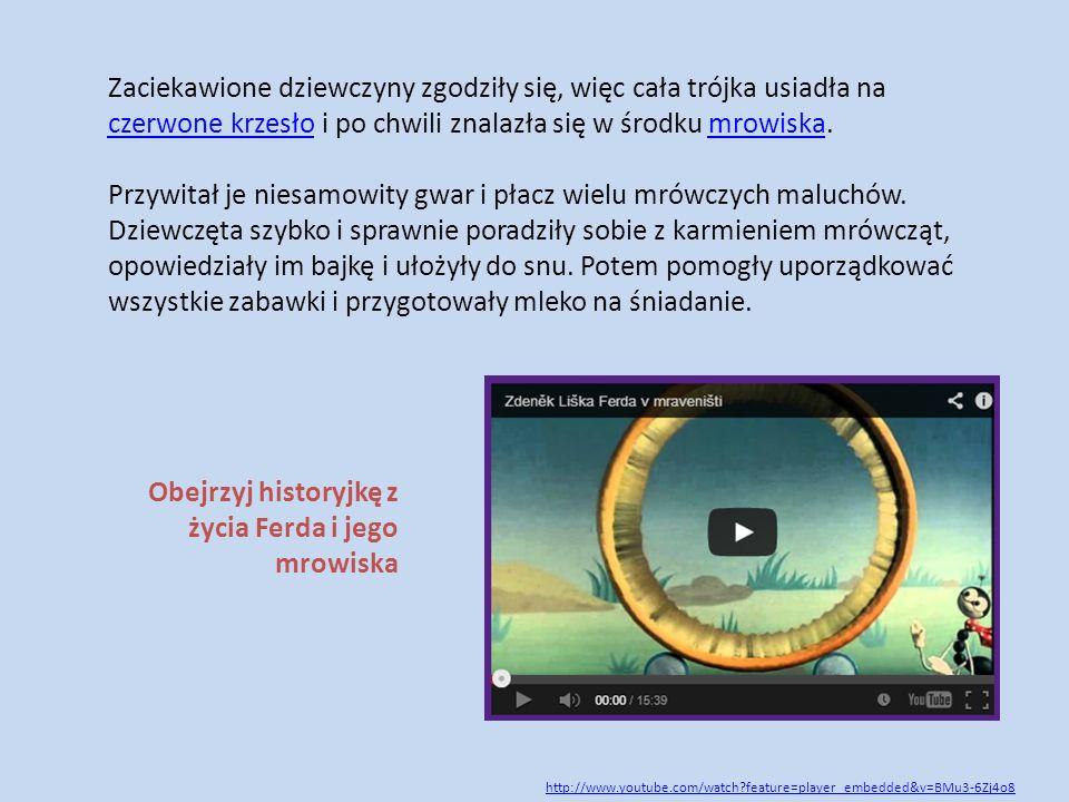 Obejrzyj historyjkę z życia Ferda i jego mrowiska http://www.youtube.com/watch?feature=player_embedded&v=BMu3-6Zj4o8 Zaciekawione dziewczyny zgodziły
