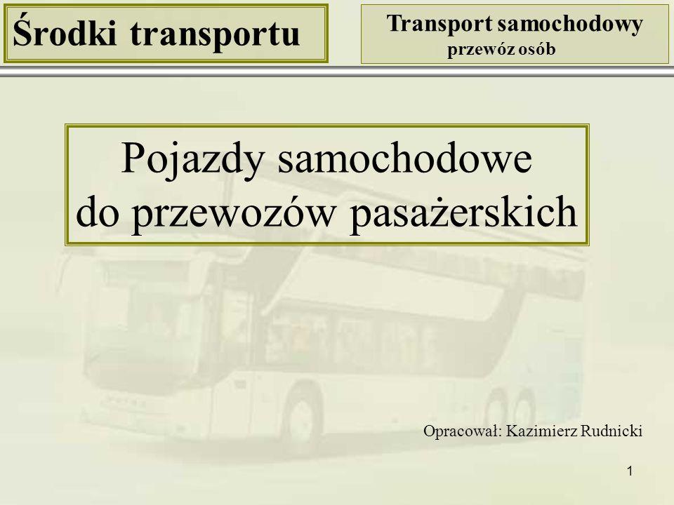 1 Środki transportu Transport samochodowy przewóz osób Pojazdy samochodowe do przewozów pasażerskich Opracował: Kazimierz Rudnicki