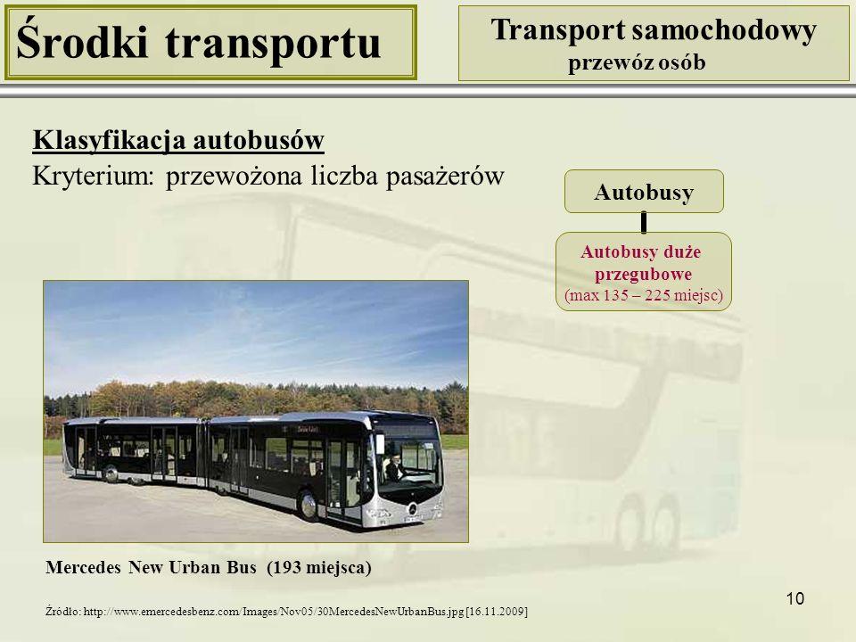 10 Środki transportu Transport samochodowy przewóz osób Klasyfikacja autobusów Kryterium: przewożona liczba pasażerów Mercedes New Urban Bus (193 miej