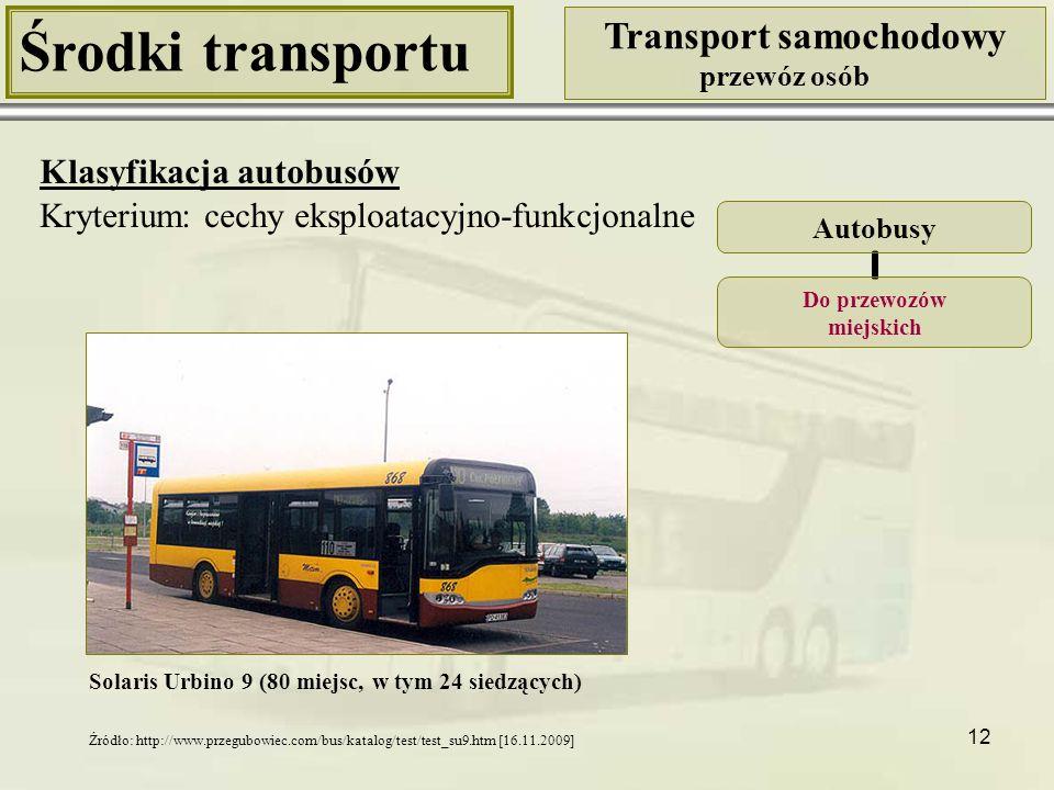 12 Środki transportu Transport samochodowy przewóz osób Klasyfikacja autobusów Kryterium: cechy eksploatacyjno-funkcjonalne Solaris Urbino 9 (80 miejs