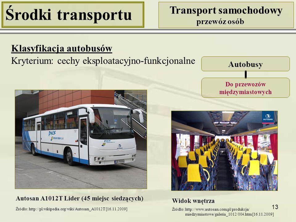 13 Środki transportu Transport samochodowy przewóz osób Klasyfikacja autobusów Kryterium: cechy eksploatacyjno-funkcjonalne Autosan A1012T Lider (45 m