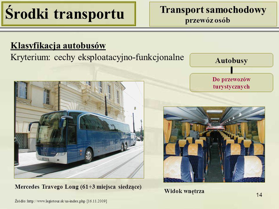 14 Środki transportu Transport samochodowy przewóz osób Klasyfikacja autobusów Kryterium: cechy eksploatacyjno-funkcjonalne Mercedes Travego Long (61+