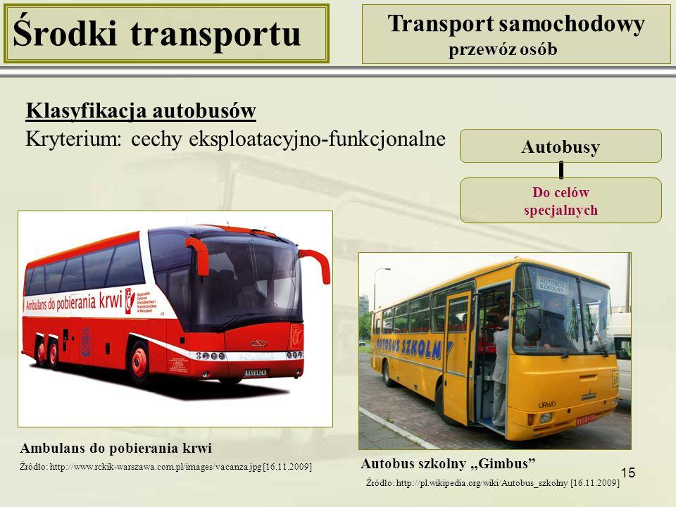 15 Środki transportu Transport samochodowy przewóz osób Klasyfikacja autobusów Kryterium: cechy eksploatacyjno-funkcjonalne Ambulans do pobierania krw
