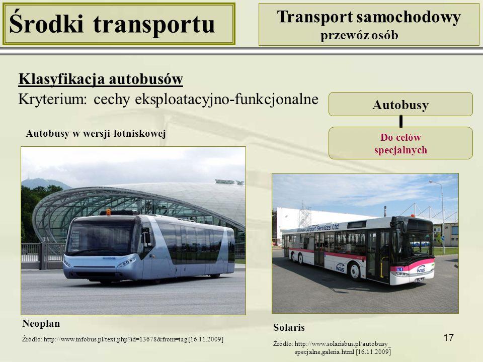 17 Środki transportu Transport samochodowy przewóz osób Klasyfikacja autobusów Kryterium: cechy eksploatacyjno-funkcjonalne Neoplan Autobusy Do celów