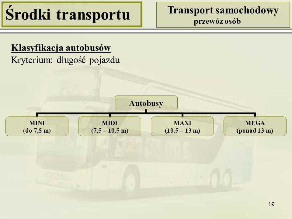 19 Środki transportu Transport samochodowy przewóz osób Klasyfikacja autobusów Autobusy MINI (do 7,5 m) MIDI (7,5 – 10,5 m) MAXI (10,5 – 13 m) MEGA (p