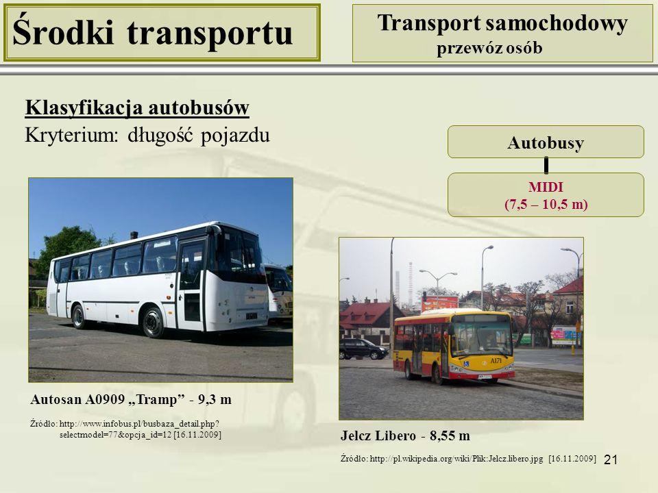 """21 Środki transportu Transport samochodowy przewóz osób Klasyfikacja autobusów Kryterium: długość pojazdu Autosan A0909 """"Tramp"""" - 9,3 m Autobusy MIDI"""