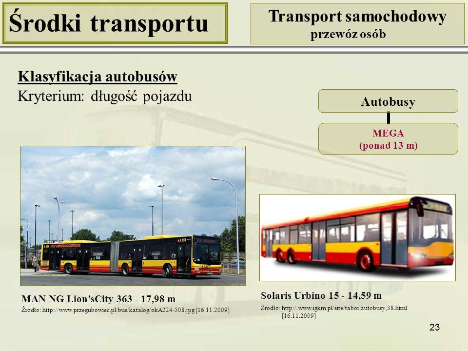 23 Środki transportu Transport samochodowy przewóz osób Klasyfikacja autobusów Kryterium: długość pojazdu MAN NG Lion'sCity 363 - 17,98 m Autobusy MEG