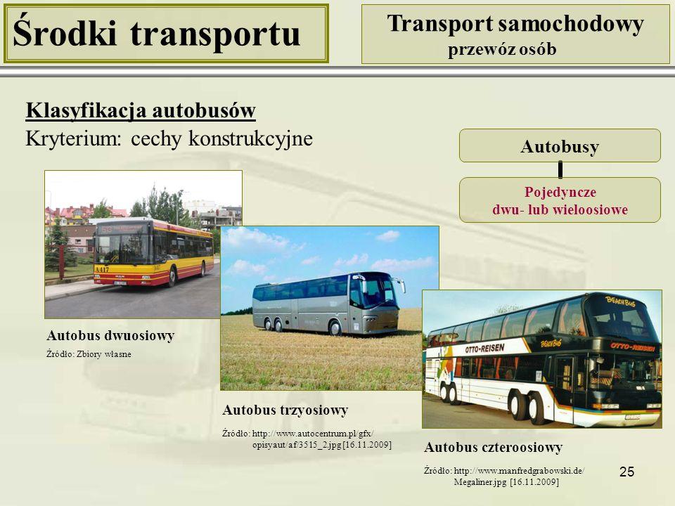 25 Środki transportu Transport samochodowy przewóz osób Klasyfikacja autobusów Kryterium: cechy konstrukcyjne Autobusy Pojedyncze dwu- lub wieloosiowe