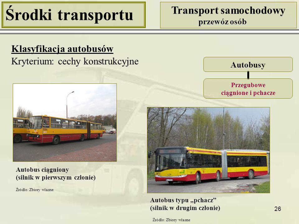 26 Środki transportu Transport samochodowy przewóz osób Klasyfikacja autobusów Kryterium: cechy konstrukcyjne Autobusy Przegubowe ciągnione i pchacze