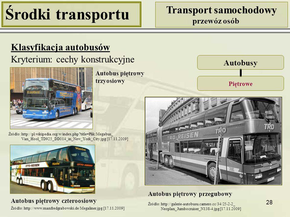 28 Środki transportu Transport samochodowy przewóz osób Klasyfikacja autobusów Kryterium: cechy konstrukcyjne Autobusy Piętrowe Autobus piętrowy przeg