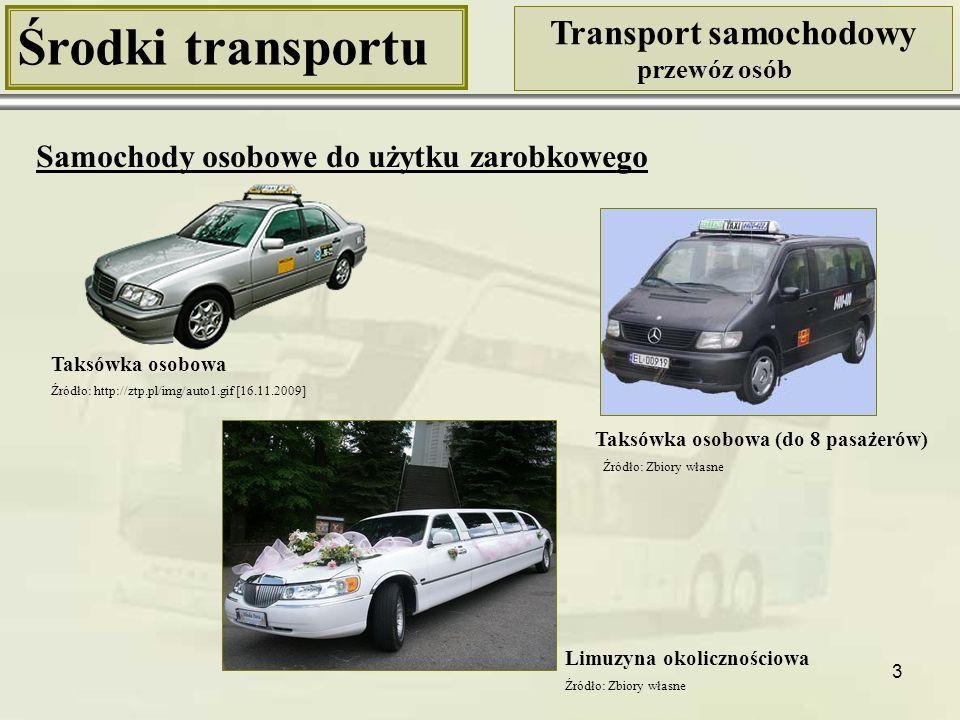 3 Środki transportu Transport samochodowy przewóz osób Samochody osobowe do użytku zarobkowego Taksówka osobowa Taksówka osobowa (do 8 pasażerów) Limu