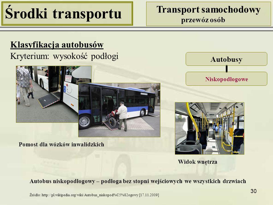 30 Środki transportu Transport samochodowy przewóz osób Klasyfikacja autobusów Kryterium: wysokość podłogi Autobusy Niskopodłogowe Widok wnętrza Autob