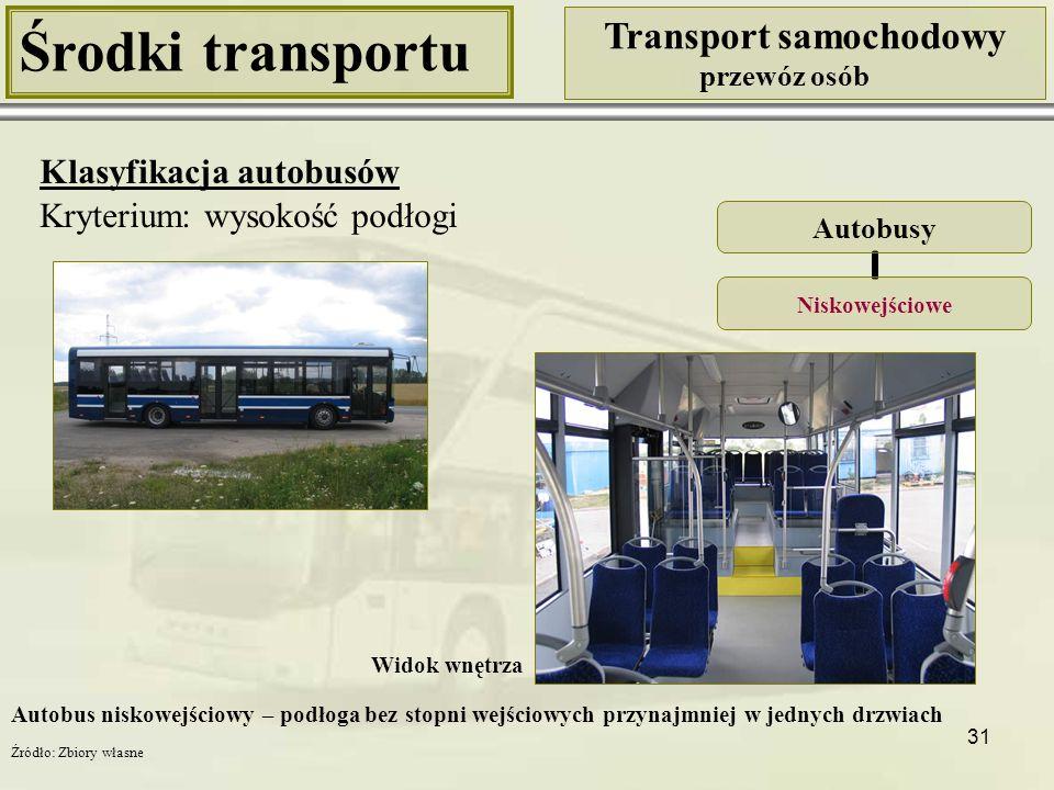31 Środki transportu Transport samochodowy przewóz osób Klasyfikacja autobusów Kryterium: wysokość podłogi Autobusy Niskowejściowe Widok wnętrza Autob