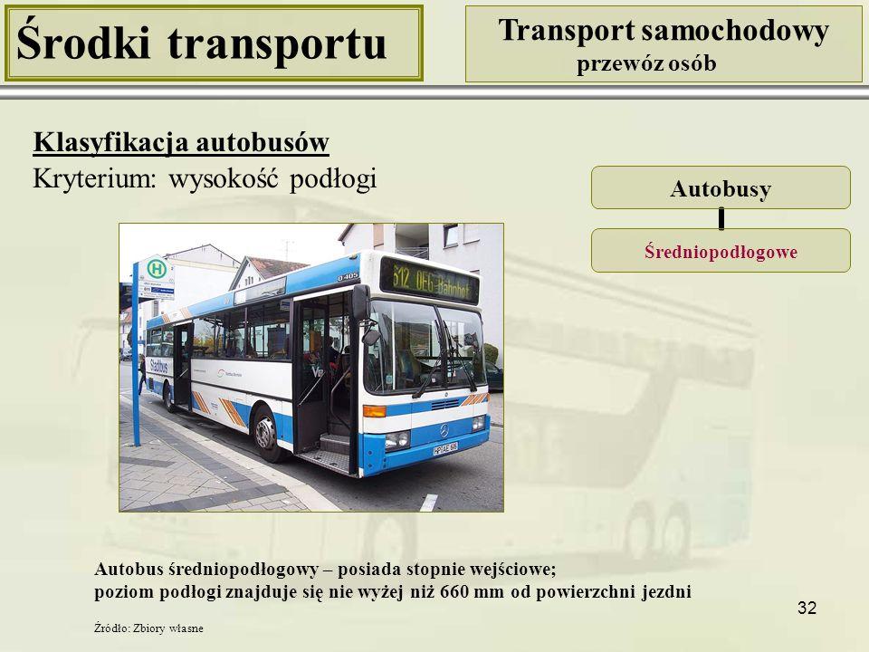 32 Środki transportu Transport samochodowy przewóz osób Klasyfikacja autobusów Kryterium: wysokość podłogi Autobusy Średniopodłogowe Autobus średniopo