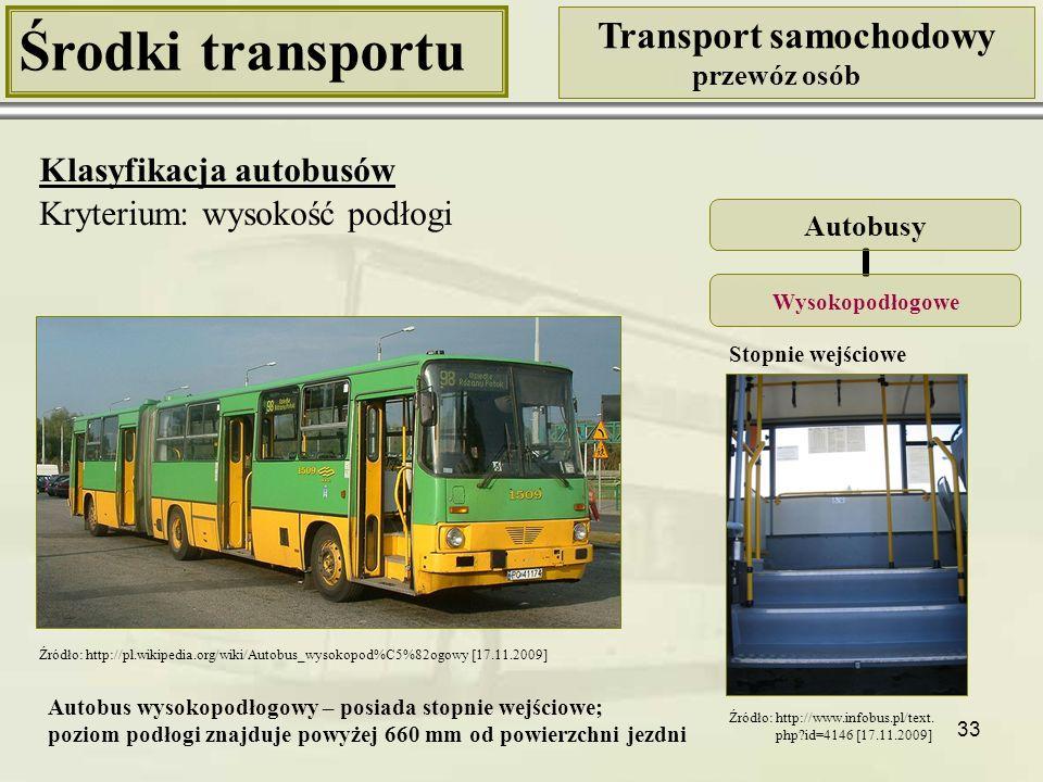 33 Środki transportu Transport samochodowy przewóz osób Klasyfikacja autobusów Kryterium: wysokość podłogi Autobusy Wysokopodłogowe Stopnie wejściowe