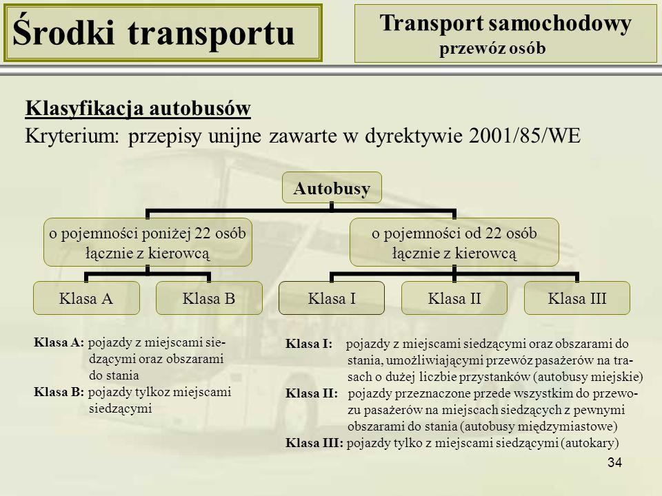 34 Środki transportu Transport samochodowy przewóz osób Klasyfikacja autobusów Kryterium: przepisy unijne zawarte w dyrektywie 2001/85/WE Autobusy o p
