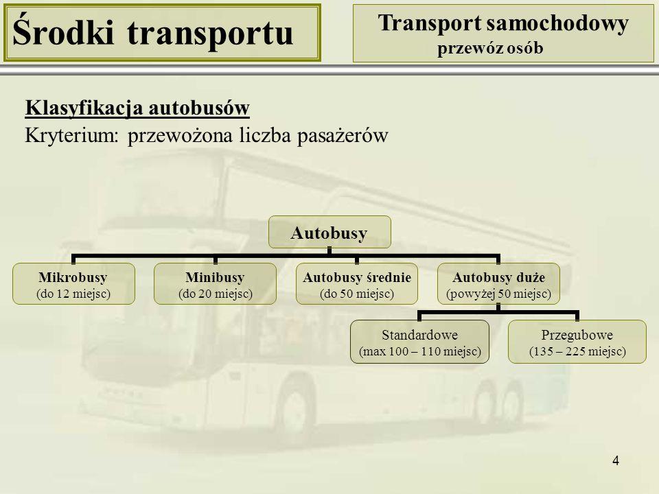 4 Środki transportu Transport samochodowy przewóz osób Klasyfikacja autobusów Autobusy Mikrobusy (do 12 miejsc) Minibusy (do 20 miejsc) Autobusy średn