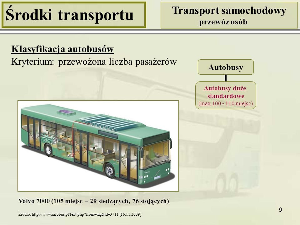 9 Środki transportu Transport samochodowy przewóz osób Klasyfikacja autobusów Kryterium: przewożona liczba pasażerów Volvo 7000 (105 miejsc – 29 siedz