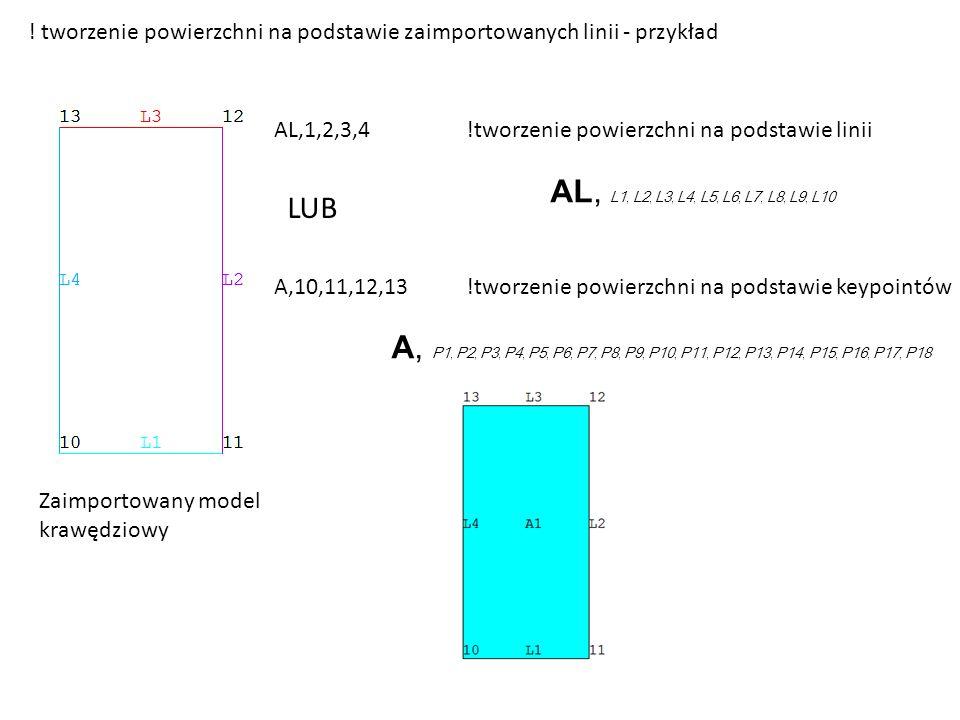 ! tworzenie powierzchni na podstawie zaimportowanych linii - przykład Zaimportowany model krawędziowy AL,1,2,3,4!tworzenie powierzchni na podstawie linii AL, L1, L2, L3, L4, L5, L6, L7, L8, L9, L10 A,10,11,12,13!tworzenie powierzchni na podstawie keypointów A, P1, P2, P3, P4, P5, P6, P7, P8, P9, P10, P11, P12, P13, P14, P15, P16, P17, P18 LUB