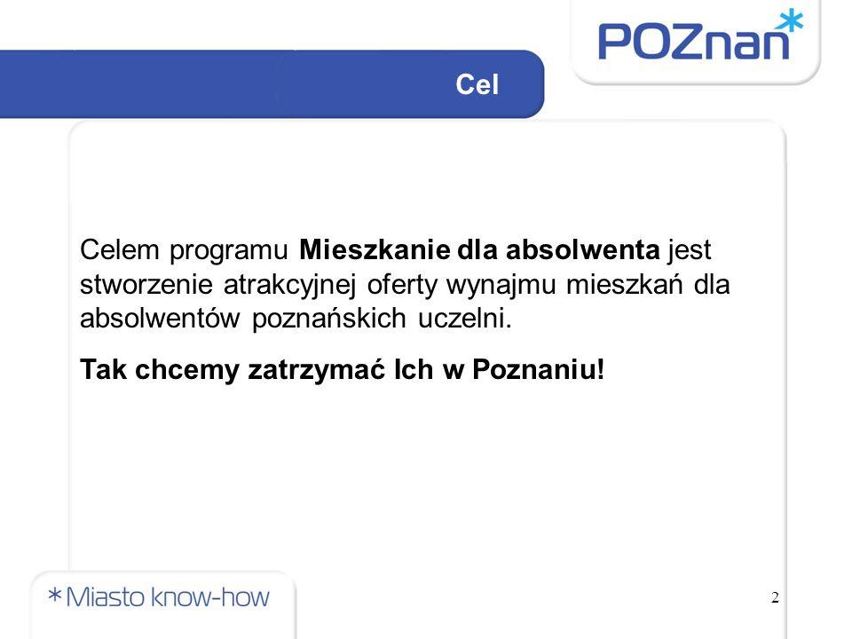 2 Cel Celem programu Mieszkanie dla absolwenta jest stworzenie atrakcyjnej oferty wynajmu mieszkań dla absolwentów poznańskich uczelni.