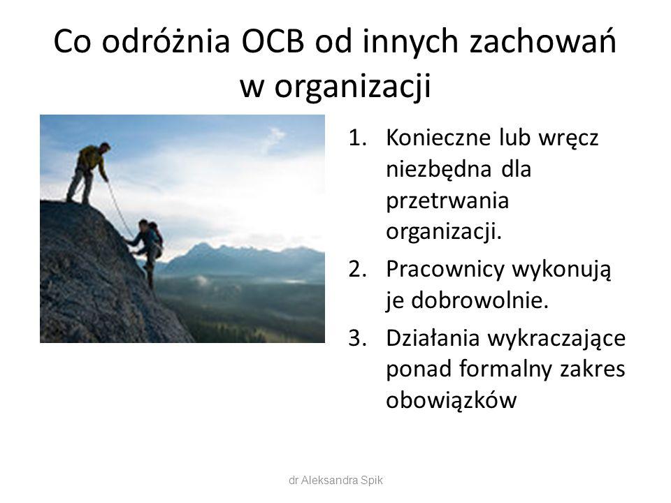 Co odróżnia OCB od innych zachowań w organizacji 1.Konieczne lub wręcz niezbędna dla przetrwania organizacji. 2.Pracownicy wykonują je dobrowolnie. 3.