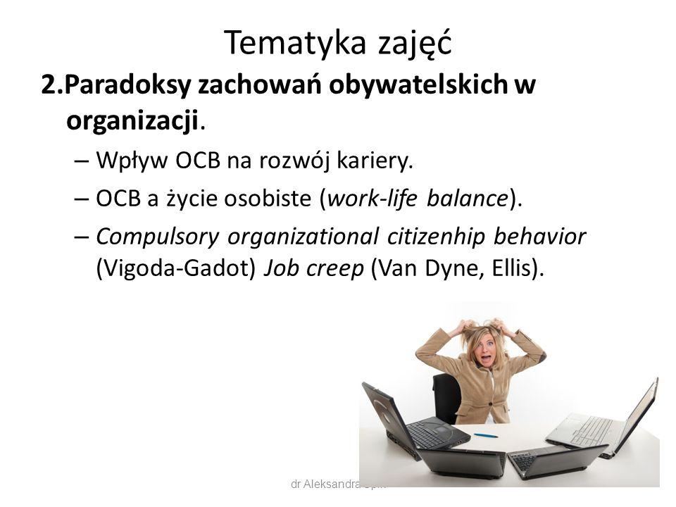 Tematyka zajęć 2.Paradoksy zachowań obywatelskich w organizacji. – Wpływ OCB na rozwój kariery. – OCB a życie osobiste (work-life balance). – Compulso