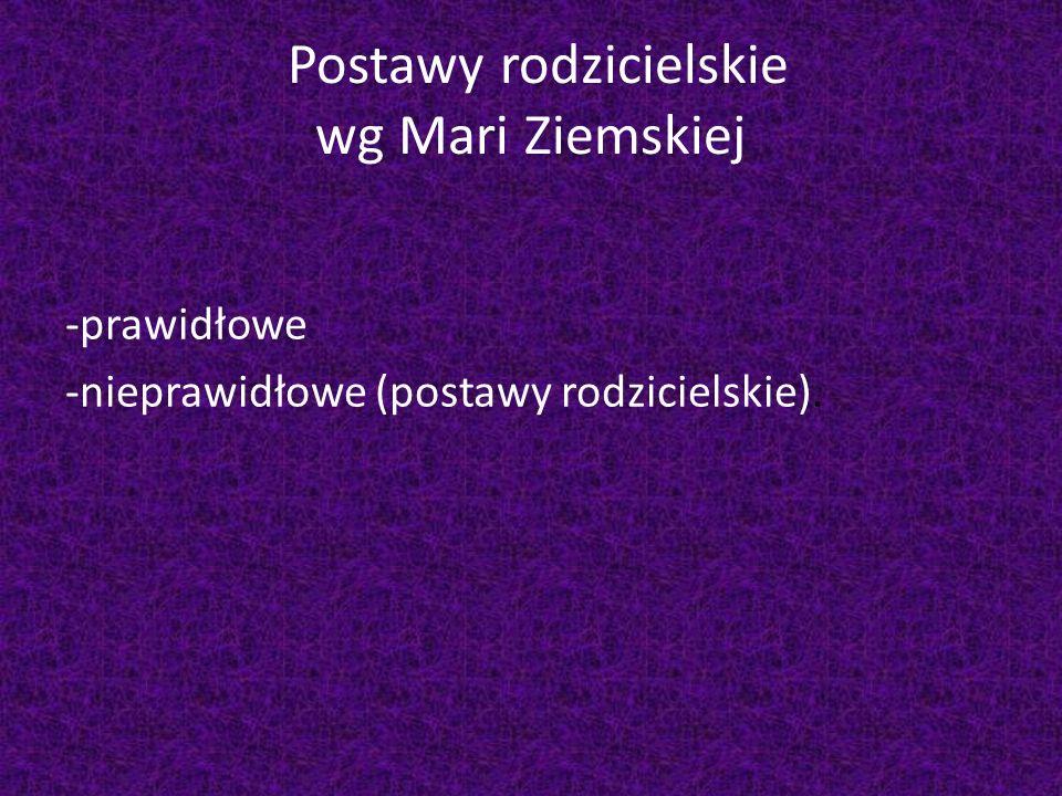 Postawy rodzicielskie wg Mari Ziemskiej -prawidłowe -nieprawidłowe (postawy rodzicielskie).