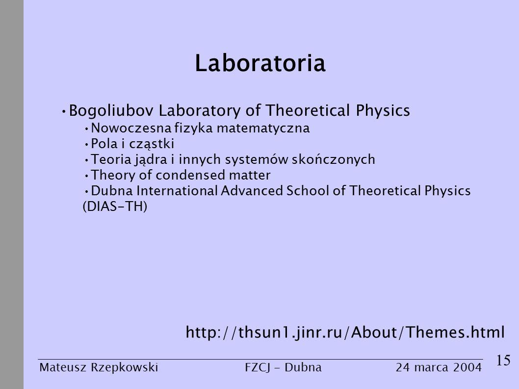Laboratoria 15 Mateusz Rzepkowski24 marca 2004FZCJ - Dubna Bogoliubov Laboratory of Theoretical Physics Nowoczesna fizyka matematyczna Pola i cząstki Teoria jądra i innych systemów skończonych Theory of condensed matter Dubna International Advanced School of Theoretical Physics (DIAS-TH) http://thsun1.jinr.ru/About/Themes.html
