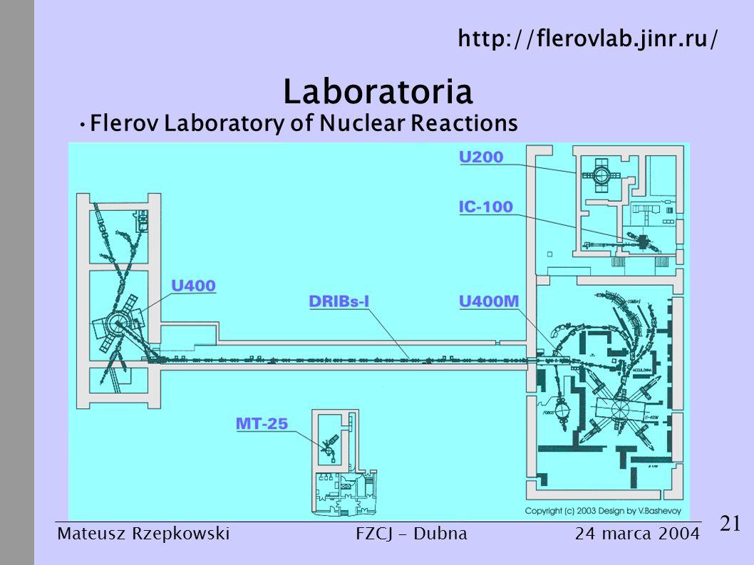 Laboratoria 21 Mateusz Rzepkowski24 marca 2004FZCJ - Dubna Flerov Laboratory of Nuclear Reactions http://flerovlab.jinr.ru/