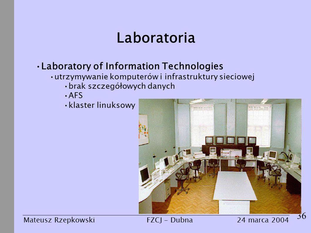 Laboratoria 36 Mateusz Rzepkowski24 marca 2004FZCJ - Dubna Laboratory of Information Technologies utrzymywanie komputerów i infrastruktury sieciowej brak szczegółowych danych AFS klaster linuksowy