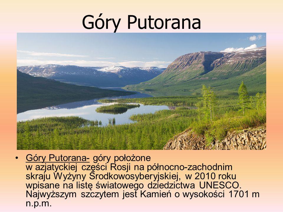 Góry Putorana Góry Putorana- góry położone w azjatyckiej części Rosji na północno-zachodnim skraju Wyżyny Środkowosyberyjskiej, w 2010 roku wpisane na