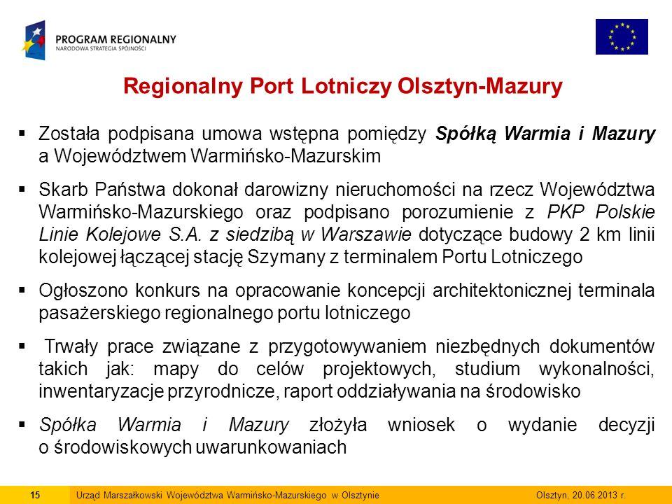 15Urząd Marszałkowski Województwa Warmińsko-Mazurskiego w Olsztynie Olsztyn, 20.06.2013 r.