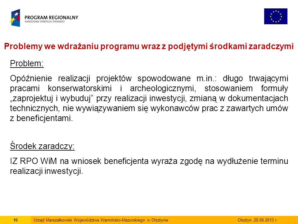 16Urząd Marszałkowski Województwa Warmińsko-Mazurskiego w Olsztynie Olsztyn, 20.06.2013 r.