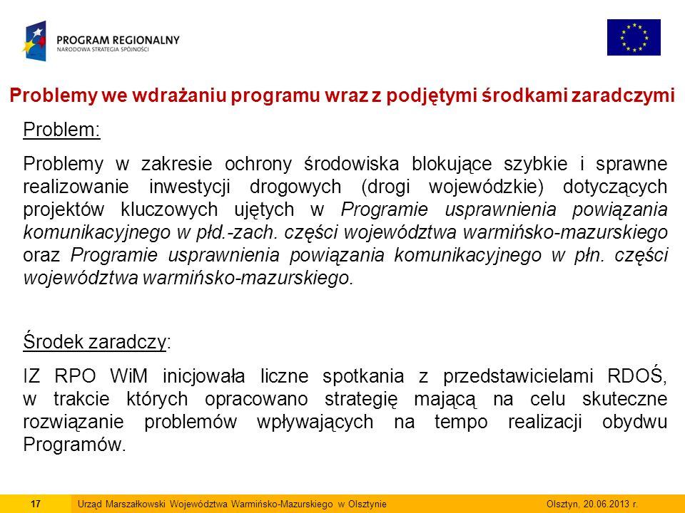 17Urząd Marszałkowski Województwa Warmińsko-Mazurskiego w Olsztynie Olsztyn, 20.06.2013 r.