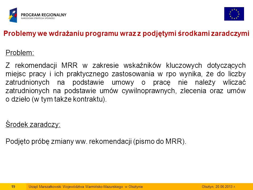 19Urząd Marszałkowski Województwa Warmińsko-Mazurskiego w Olsztynie Olsztyn, 20.06.2013 r.