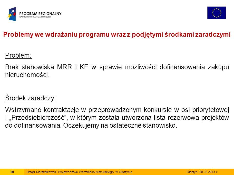 20Urząd Marszałkowski Województwa Warmińsko-Mazurskiego w Olsztynie Olsztyn, 20.06.2013 r.
