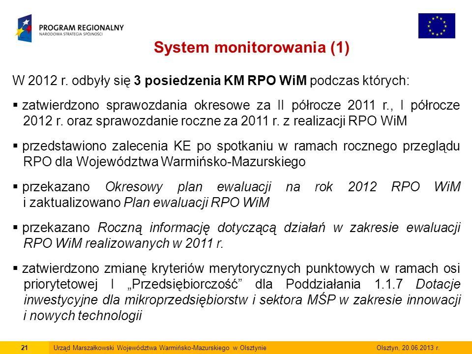 21Urząd Marszałkowski Województwa Warmińsko-Mazurskiego w Olsztynie Olsztyn, 20.06.2013 r.