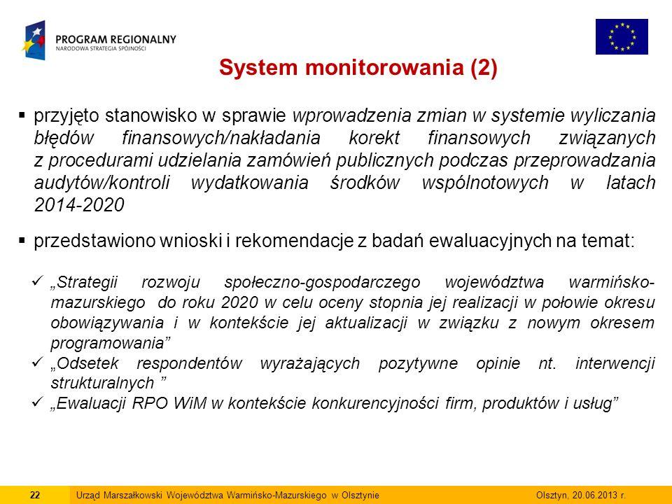 22Urząd Marszałkowski Województwa Warmińsko-Mazurskiego w Olsztynie Olsztyn, 20.06.2013 r.