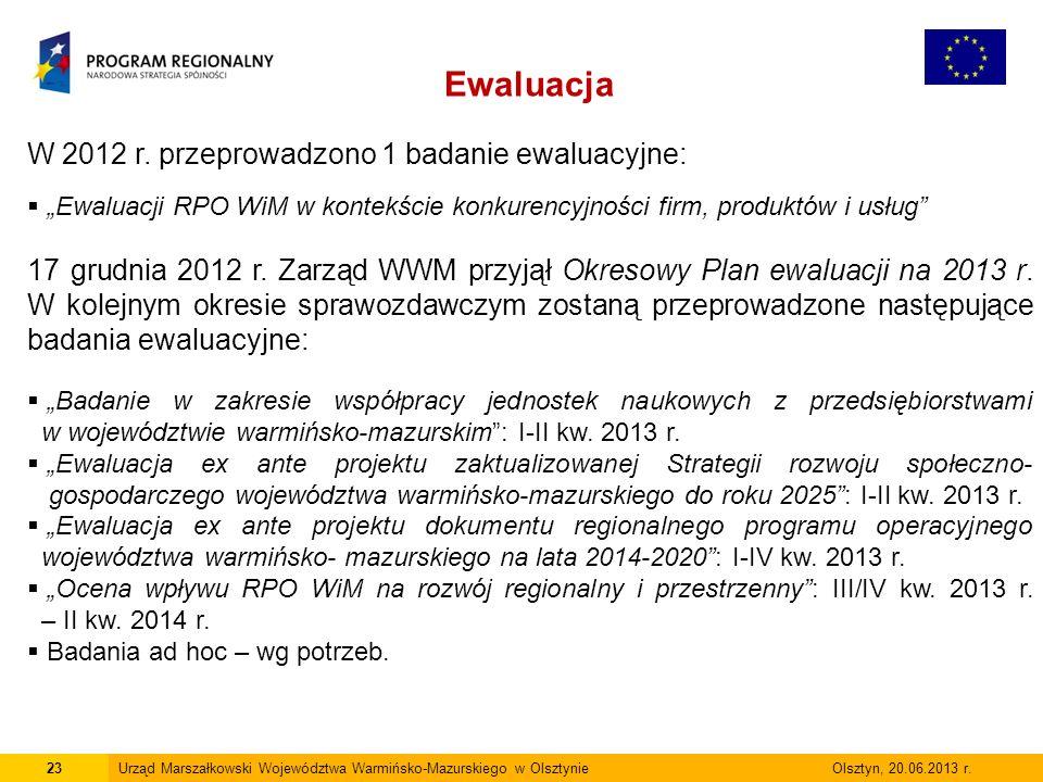 23Urząd Marszałkowski Województwa Warmińsko-Mazurskiego w Olsztynie Olsztyn, 20.06.2013 r.